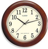 La Crosse Technology 12-Inch Atomic Wall Clock with Dark Red Wood Frame