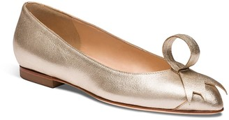 Alexis Isabel Poppy Gold Leather Ballerina Flats