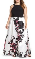Xscape Evenings Plus Size Women's Print Skirt Ballgown