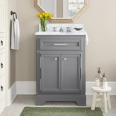 "Three Posts Bergin 24"" W Single Sink Bathroom Vanity Set with Faucet Base Finish: Gray"