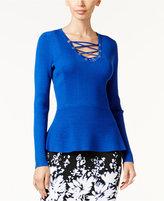 Thalia Sodi Lace-Up Peplum Sweater, Only at Macy's