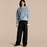 Burberry Brushed Wool Cashmere Sweater, Blue