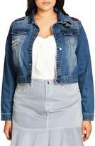 City Chic Plus Size Women's '80S Patch Denim Jacket