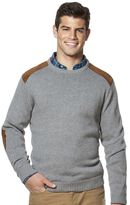 Chaps Big & Tall Classic-Fit Sueded-Patch Crewneck Sweater