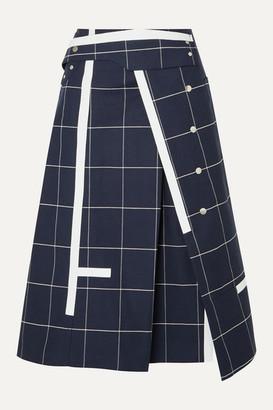 3.1 Phillip Lim Checked Cotton-blend Twill Midi Skirt - Navy