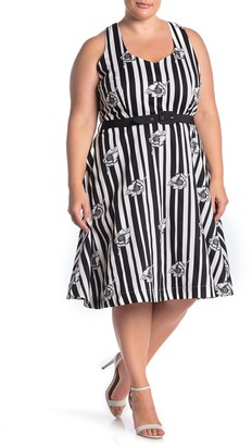 City Chic Floral Stripe Print A-Line Dress (Plus Size)