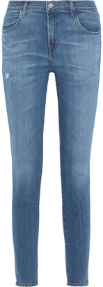J Brand 620 Zip-detailed Distressed Mid-rise Skinny Jeans