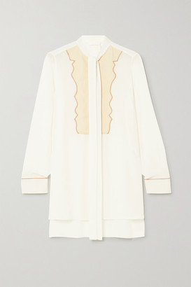 Chloé Pussy-bow Silk Crepe De Chine And Linen Blouse - White