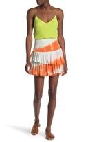 Emory Park Smocked Tie-Dye Pompom Trim Mini Skirt