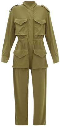 Norma Kamali Zipped Stretch Jersey Cargo Jumpsuit - Womens - Khaki
