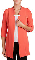 Peter Nygard Textured 3/4 Sleeve Open Front Jacket