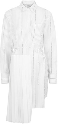 Off-White Popeline striped cotton wrap dress