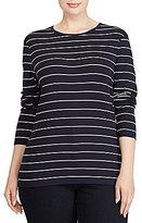 Lauren Ralph Lauren Plus Striped Long-Sleeve Cotton T-Shirt