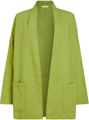 Eileen Fisher Organic Cotton Crepe Jacket, Mustard Green