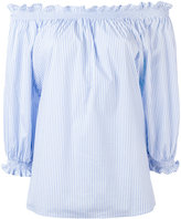 Xacus off-shoulder frill trim blouse - women - Cotton/Polyamide/Spandex/Elastane - 40