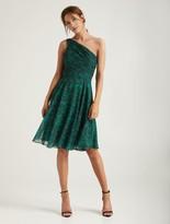 Halston Asymmetric Ruched Dress