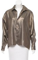 Elizabeth and James Dolman Sleeves Metallic Top