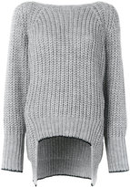 Nude ribbed v-back sweater - women - Acrylic/Polyester/Viscose/Alpaca - 40