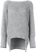 Nude ribbed v-back sweater
