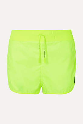 Off-White Off White Rubber-appliqued Neon Shell Shorts - Lime green