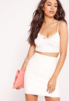 Missguided Lace Overlay Bralet White