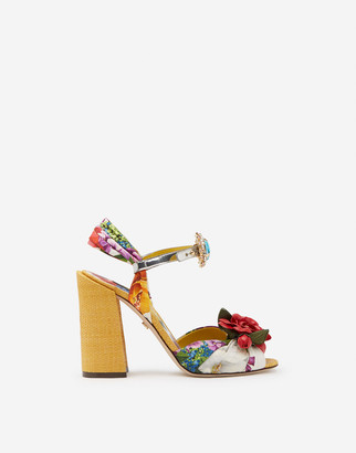 Dolce & Gabbana Twill Silk Sandals With Embroidery