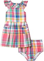 Polo Ralph Lauren Madras Dress Bloomer (Infant) (Pink Multi) Girl's Clothing
