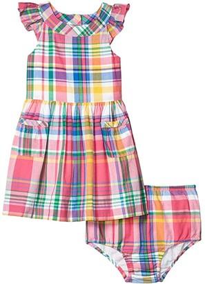 Polo Ralph Lauren Kids Madras Dress Bloomer (Infant) (Pink Multi) Girl's Clothing
