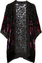 Anna Sui Rose-patterned burnout velvet kimono-style jacket