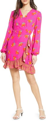 Charles Henry Floral Long Sleeve Wrap Minidress
