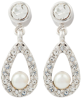 Susan Caplan Vintage 1980s Nina Ricci Silver Plated Faux Pearl and Swarovski Crystal Clip-On Drop Earrings, Silver/White