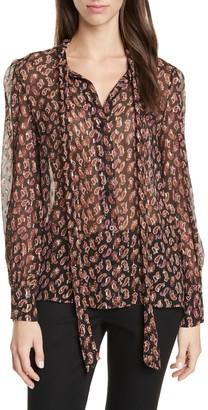 Diane von Furstenberg Lanie Paisley Tie Neck Silk Blend Blouse