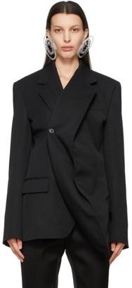 Y/Project Black Twisted Lapel Classic Blazer