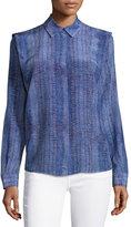 See by Chloe Lizard-Print Long-Sleeve Blouse, Purple