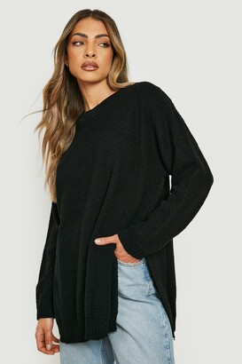boohoo Side Split Moss Stitch Tunic Sweater