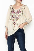 Johnny Was Ivory Embroidered Top