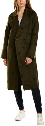 AVEC LES FILLES Star Print Wool-Blend Coat