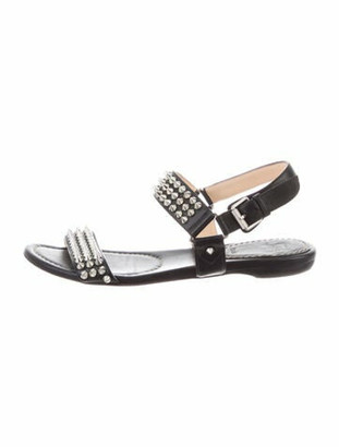 Christian Louboutin Leather Studded Accents Slingback Sandals Black