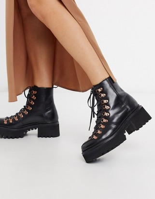 Grenson Nanette black leather chunky hiker boots with rose gold hardware