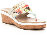 Cole Haan Lindy Grand Thong II Floral Leather Wedge Sandals