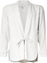 Gold / Toyo Enterprise - Herringbone kimono shirt - men - Linen/Flax - S