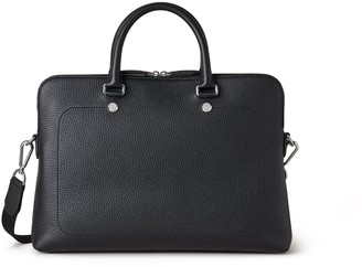 Mulberry City Slim Briefcase Black Heavy Grain and Webbing Strap