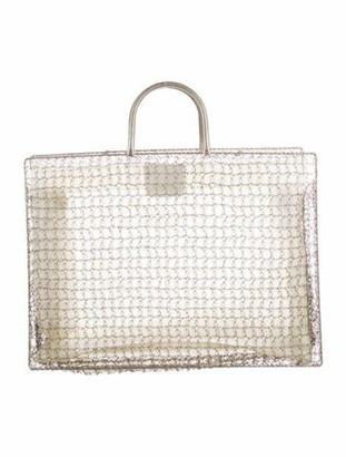 Salvatore Ferragamo Wire Crochet Tote Silver