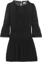 RED Valentino Crochet-trimmed Swiss-dot Georgette Mini Dress - Black
