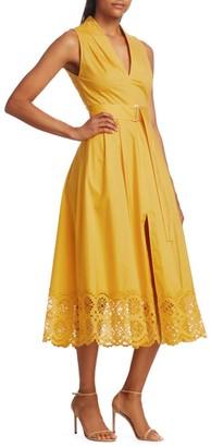 Lela Rose Belted Eyelet Midi Dress