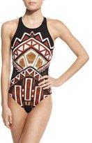 LaBlanca La Blanca Geometric-Print High-Neck One-Piece Swimsuit