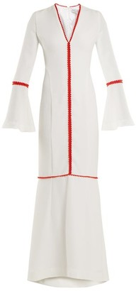 Galvan Chan Chan Pompom-trimmed Crepe Gown - Womens - White Multi