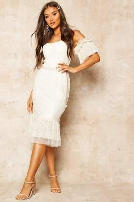 boohoo Lace Bardot Frill Detail Midi Dress