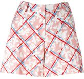 Jil Sander Navy checked floral print shorts