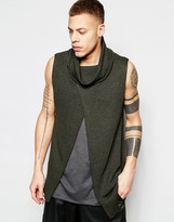 Asos Sleeveless Sweater with Cowl Neck and Wrap Front